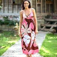 Maxi dress, 'Pink Floral Classic' - Floral Hand Painted Maxi Dress