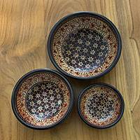 Wood batik centerpieces, 'Jasmine Bud' (set of 3) - Handmade Indonesian Batik Decorative Bowls (Set of 3)