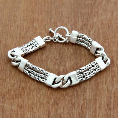 Men's sterling silver braided bracelet, 'Two Halves' - Handcrafted Men's Sterling Silver Link Bracelet