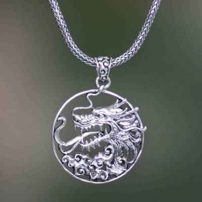 Men's sterling silver pendant necklace, 'Victorious' - Men's Sterling Silver Dragon Necklace