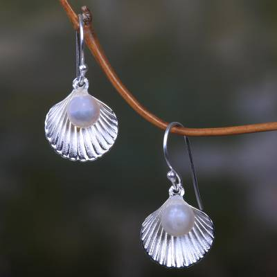 Cultured pearl dangle earrings, 'Gift from the Sea' - Sterling Silver and Pearl Seashell Earrings