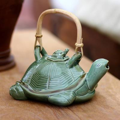 Ceramic teapot, Mother Sea Turtle
