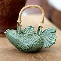 Ceramic teapot, 'Green Koi' - Hand Crafted Ceramic Fish Teapot