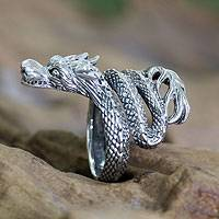 Sterling silver wrap ring, 'Baby Dragon' - Unique Indonesian Sterling Silver Wrap Ring