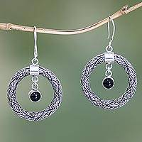 Onyx dangle earrings, 'Ring Around the Moon' - Onyx dangle earrings