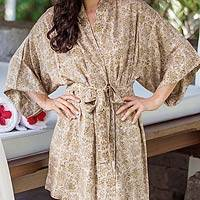 Batik robe, 'Autumn Jasmine' - Unique Women's Floral Batik Robe from Bali