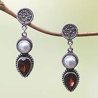 Cultured pearl and garnet dangle earrings, 'Bright Moon' - Garnet and Pearl Dangle Earrings