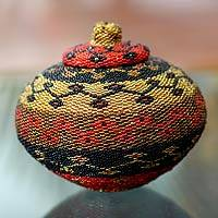 Beaded bamboo basket, 'Balinese Dazzle' - Hand Beaded Bamboo Basket