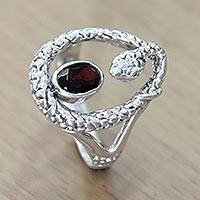 Garnet single stone ring, 'Rainforest Goddess' - Sterling Silver and Garnet Snake Ring