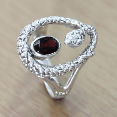 om ring silver handles wholesale - Sterling Silver and Garnet Snake Ring