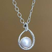 Cultured pearl pendant necklace, 'Rainforest Goddess' - Handmade Sterling Silver and Pearl Snake Necklace