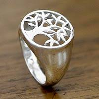 Sterling silver signet ring, 'Beringin Tree' - Sterling Silver Signet Ring