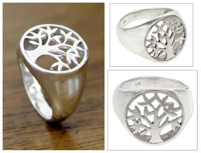 initial necklace - Sterling Silver Signet Ring