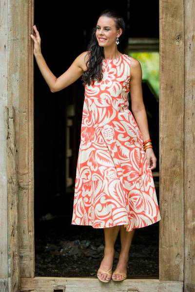 Cotton dress, 'Ginger Blossom' - Orange Ginger Blossom Floral Patterned Knee Length Dress
