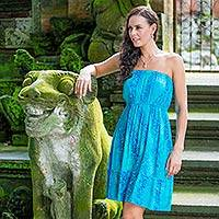 Featured review for Batik strapless sundress, Ocean Garden