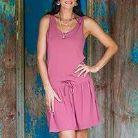 Jersey knit sundress, 'Balinese Rose Charleston' - Jersey knit sundress