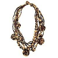 Silk batik strand necklace,