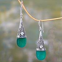 Onyx and moonstone dangle earrings, 'Bali Tradition' - Sterling Silver and Green Onyx Earrings