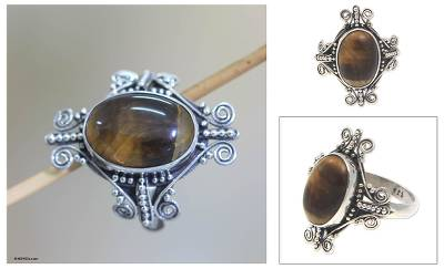 Tiger's eye cocktail ring, 'Dreams of Bali' - Tiger's Eye and Sterling Silver Cocktail Ring
