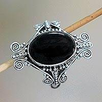 Onyx cocktail ring, 'Dreams of Bali' - Sterling Silver and Onyx Ring