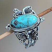 Sterling silver cocktail ring, 'Dragonfly Sky' - Reconstituted Turquoise and Sterling Silver Cocktail Ring