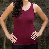 Jersey tank top, 'Kuta in Maroon Chic' - Jersey tank top