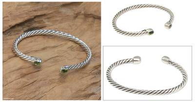 Peridot cuff bracelet, 'Bali Swirl' - Fair Trade Women's Sterling Silver and Peridot Bracelet