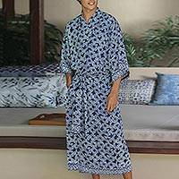 Men's batik robe, 'Navy Blue Nebula' - Men's Batik Robe from Indonesia