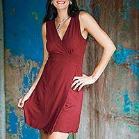 Jersey knit dress, Sumatra in Maroon Chic