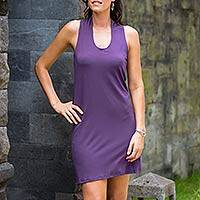 Jersey knit dress, 'New Denpasar Purple' - Jersey knit dress