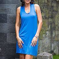 Jersey knit dress, 'New Denpasar Blue' - Jersey knit dress
