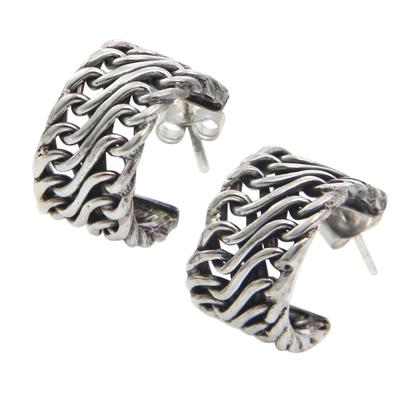 Sterling silver half-hoop earrings
