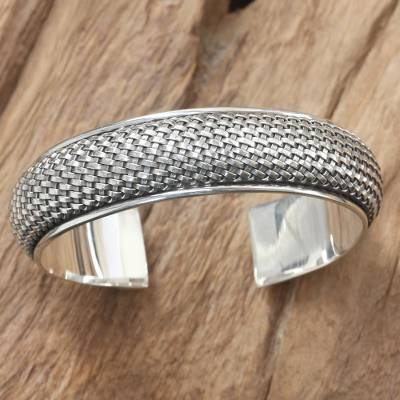 Sterling silver cuff bracelet, 'Woven Paths' - Hand Crafted Sterling Silver Cuff Bracelet