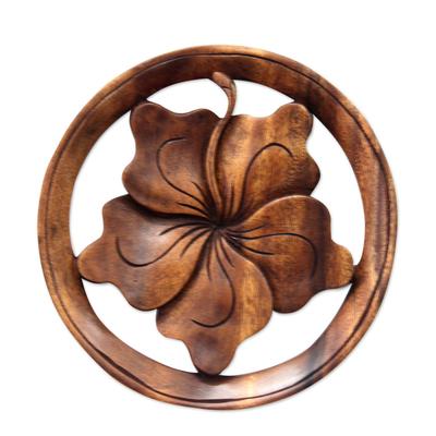 Wood relief panel, 'Balinese Hibiscus Flower' - Wood relief panel