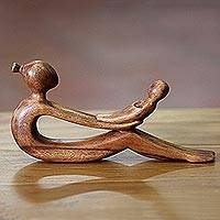 Wood sculpture, 'A Mother's Love' - Hand Carved Indonesian Mother and Child Suar Wood Sculpture