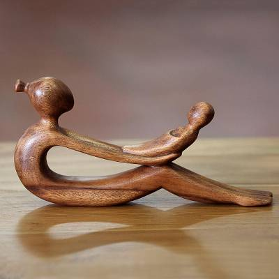 Wood sculpture, 'A Mother's Love' - Artisan Crafted Mother and Child Wood Sculpture