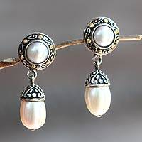 Gold accent cultured pearl dangle earrings, 'Full Moon Splendor' - Handcrafted Sterling Silver and Pearl Earrings