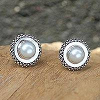 Cultured pearl button earrings, 'Moonlight Halo' - Handcrafted Sterling Silver and Pearl Button Earrings