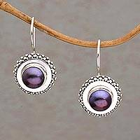 Cultured pearl drop earrings, 'Lilac Moon Halo' - Lavender and Silver Cultured Pearl Drop Earrings