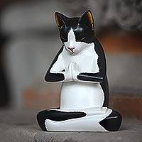 Featured review for Wood sculpture, Tuxedo Kitty Meditates