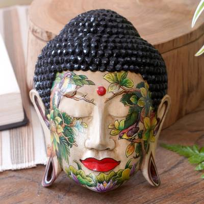 Wood mask, 'Natural Harmony of Buddha' - Wood mask
