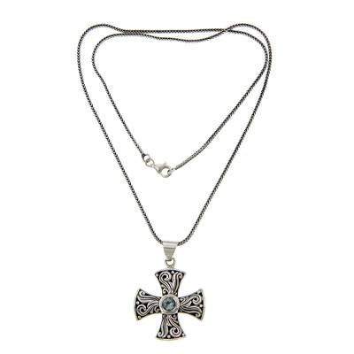 Blue topaz cross necklace