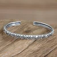Men's sterling silver cuff bracelet, 'Temple Wall' - Men's Handcrafted Sterling Silver Cuff Bracelet