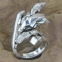 Sterling silver cocktail ring, 'Dragon Claws' - Sterling silver cocktail ring