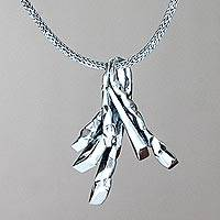 Sterling silver pendant necklace, 'Dragon Claws' - Sterling silver pendant necklace