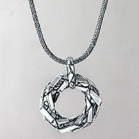 Sterling silver pendant necklace, 'Glass Enigma' - Modern Sterling Silver Pendant Necklace