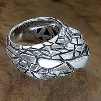 Men's sterling silver ring, 'Glacier' - Sterling Silver Men's Dome Ring from Bali