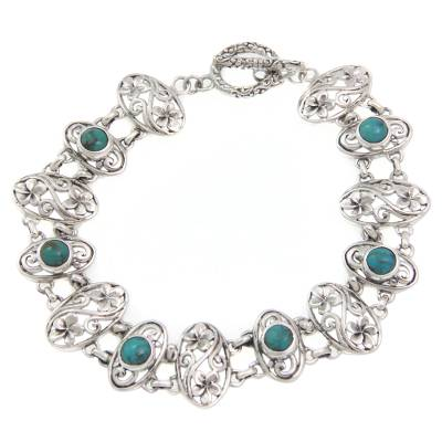 Floral Sterling Silver and Reconstituted Turquoise Bracelet
