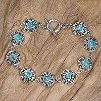 Sterling silver flower bracelet, 'Frangipani Glam' - Reconstituted Turquoise and Sterling Silver Bracelet