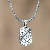 Men's sterling silver pendant necklace, 'Cobblestones' - Men's sterling silver pendant necklace